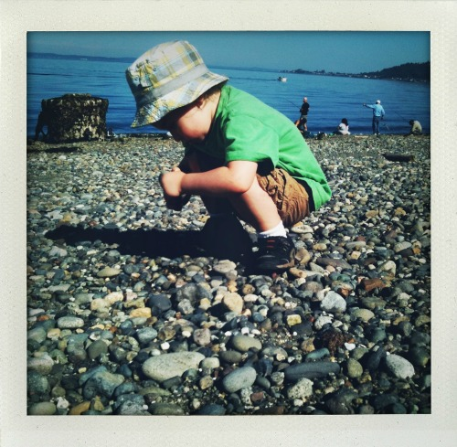 Isaac hunts for some of his favorite rocks at Lincoln Park.