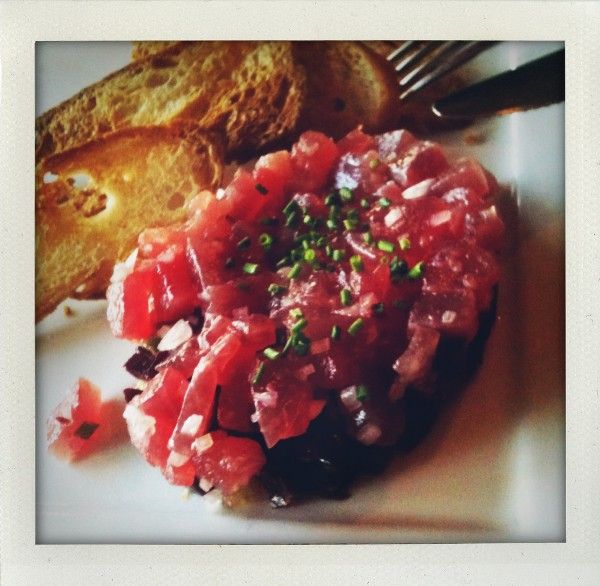tuna tartare with avocado, beets and candied ginger