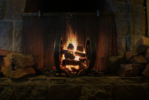 The main fireplace at Timberline Lodge, OR