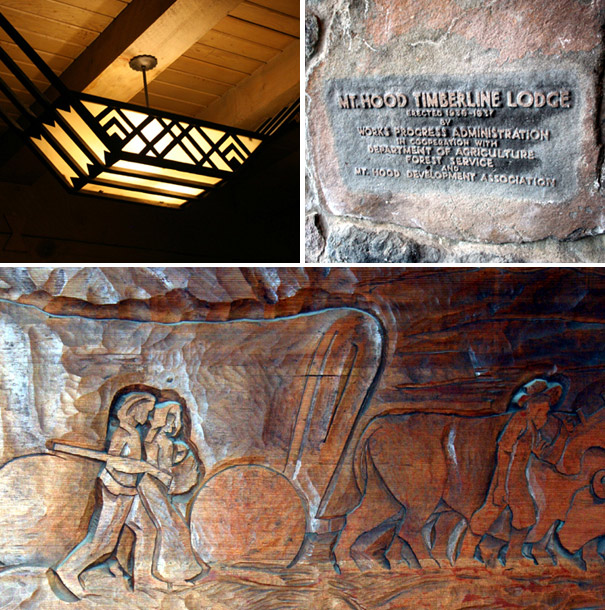Timberline Lodge craftsman light and intricate wall carving